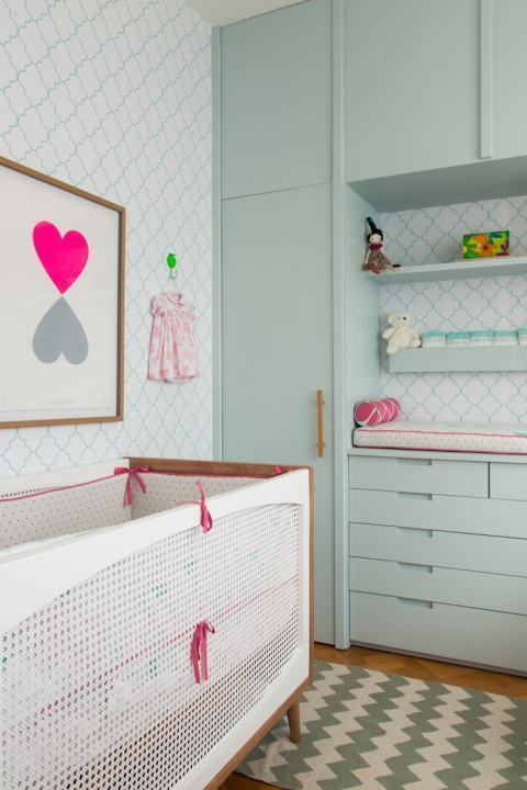 Quarto de Bebê Rosa 60+ Fotos e Inspirações Incríveis! ~ Quarto Rosa E Verde Bebe