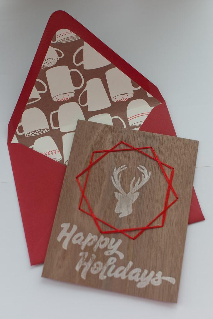 Cartão de natal feito com placa fina de MDF