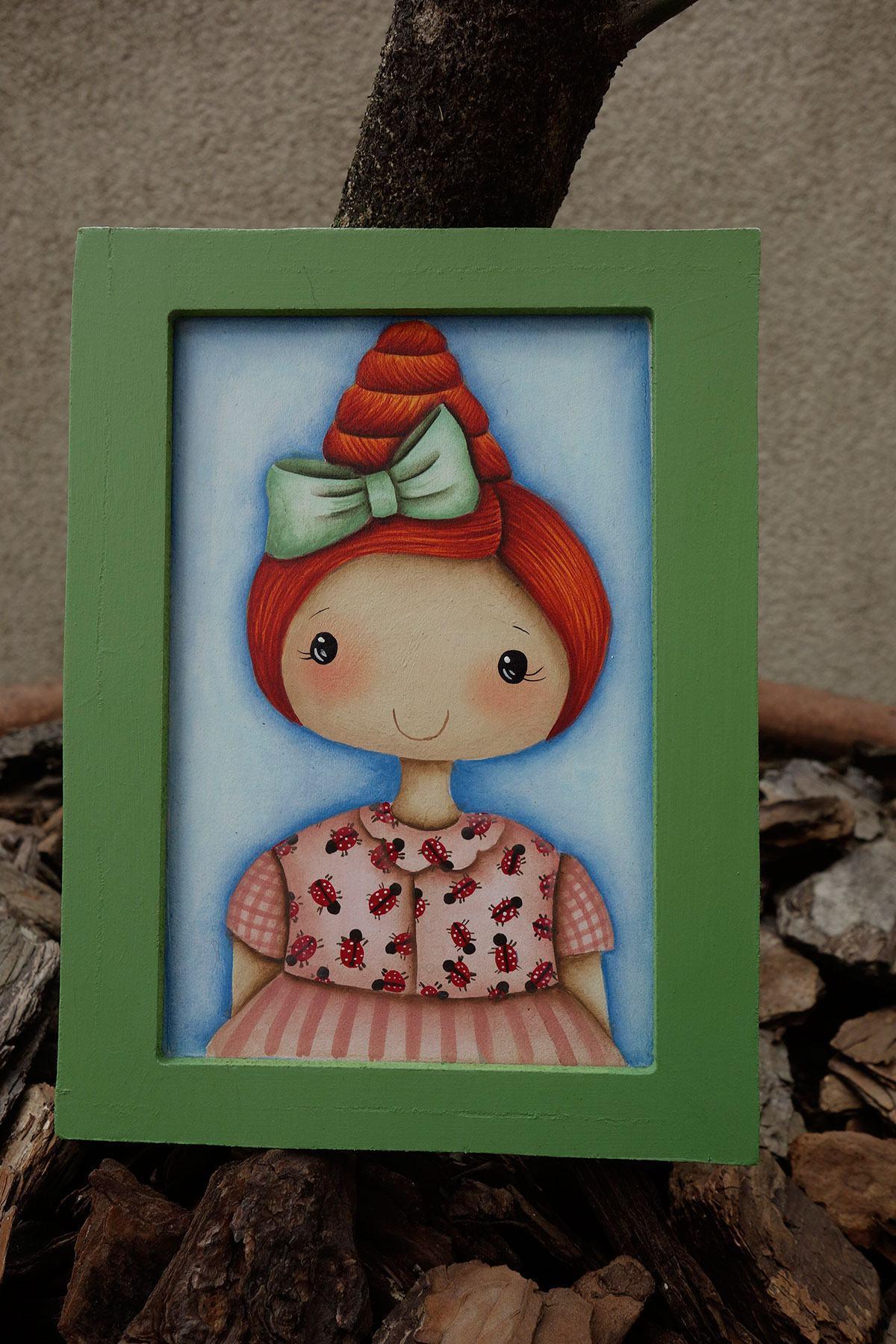 Porta retrato colorido com personagem