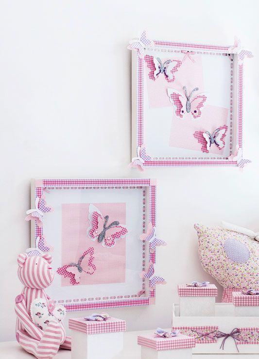 Caixinhas brancas com estampa quadriculada rosa para o quarto de bebê menina