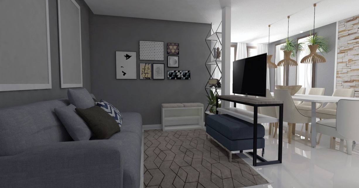 Imagem 51 – Sala de estar integrada com piso de porcelanato líquido