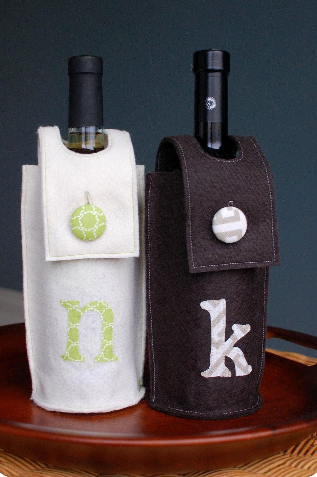 Embalagens de feltro para colocar garrafas de vinho