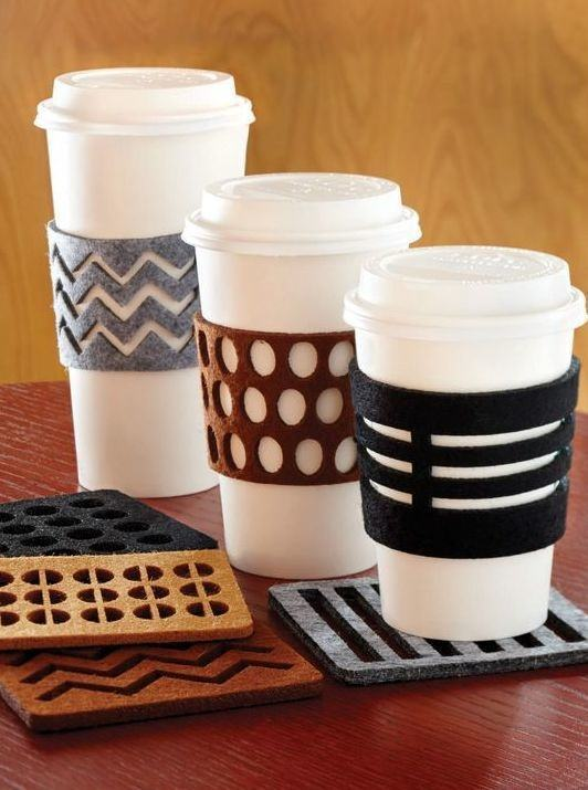 Suporte para copos de café feito em feltro