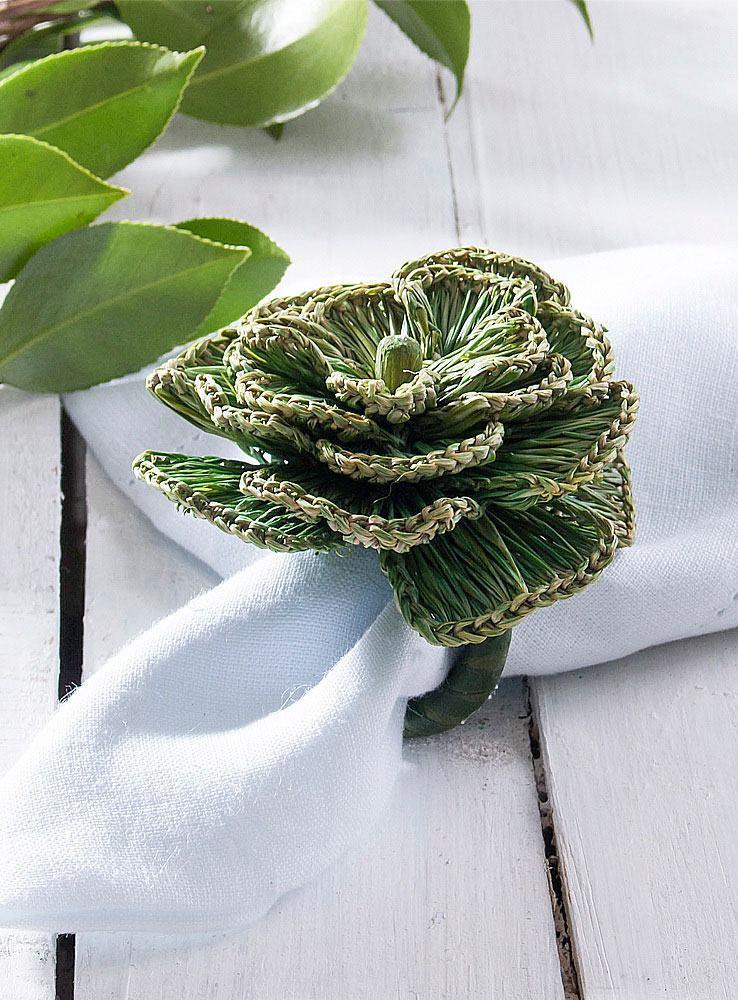 Porta guardanapo verde com argola