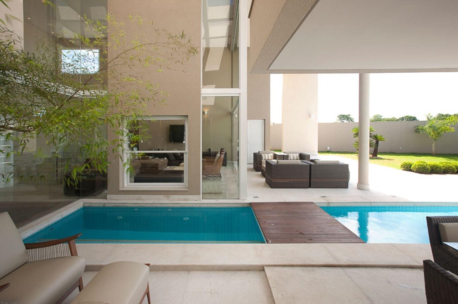 Casas com piscinas 60 modelos projetos e fotos for Modelos de piscinas fotos