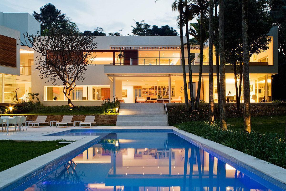 Casas com piscinas 60 modelos projetos e fotos Modelo de casa l