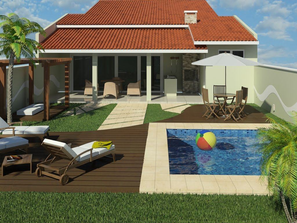 Casas com piscinas 60 modelos projetos e fotos for Modelos de piscinas para casas de campo