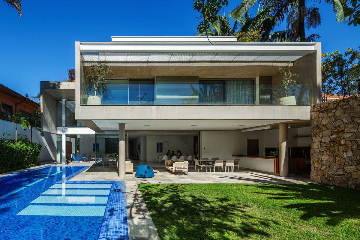 Casas com piscinas 60 modelos projetos e fotos for Villa moderna con piscina