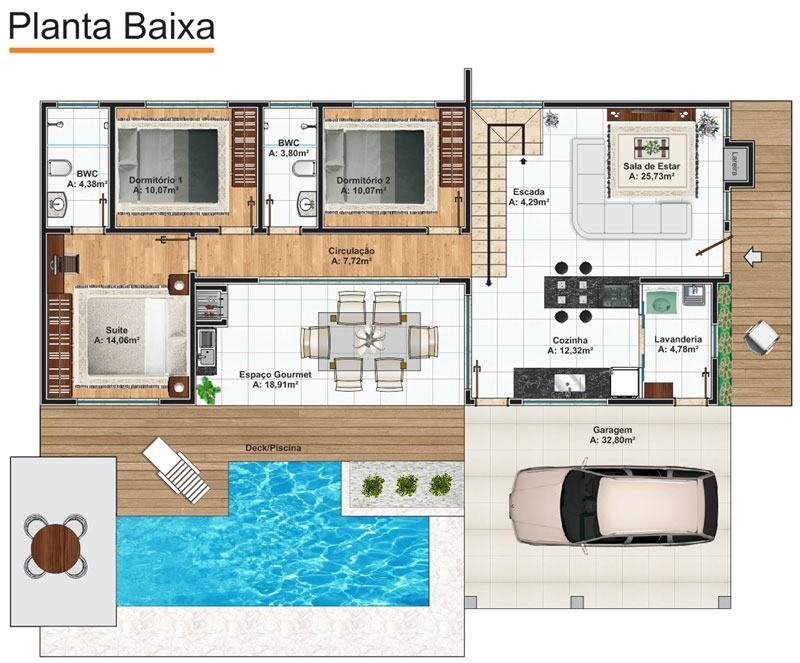 Casas com piscinas 60 modelos projetos e fotos for Plantas de casa adentro