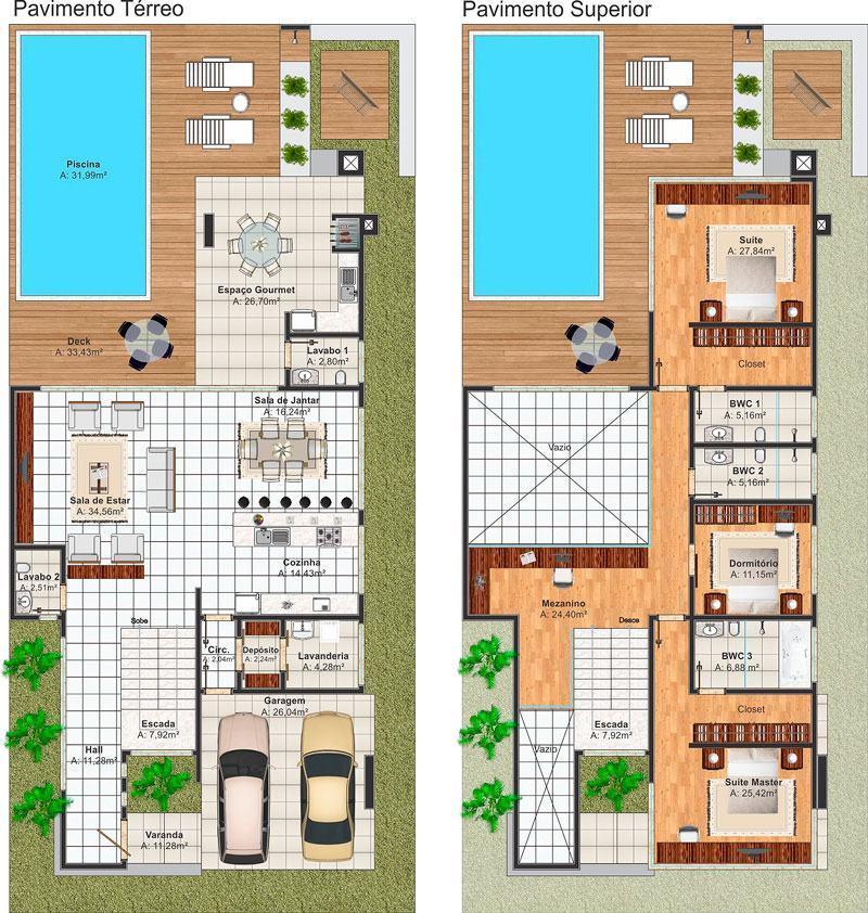Casas com piscinas 60 modelos projetos e fotos for Plantas para piscinas