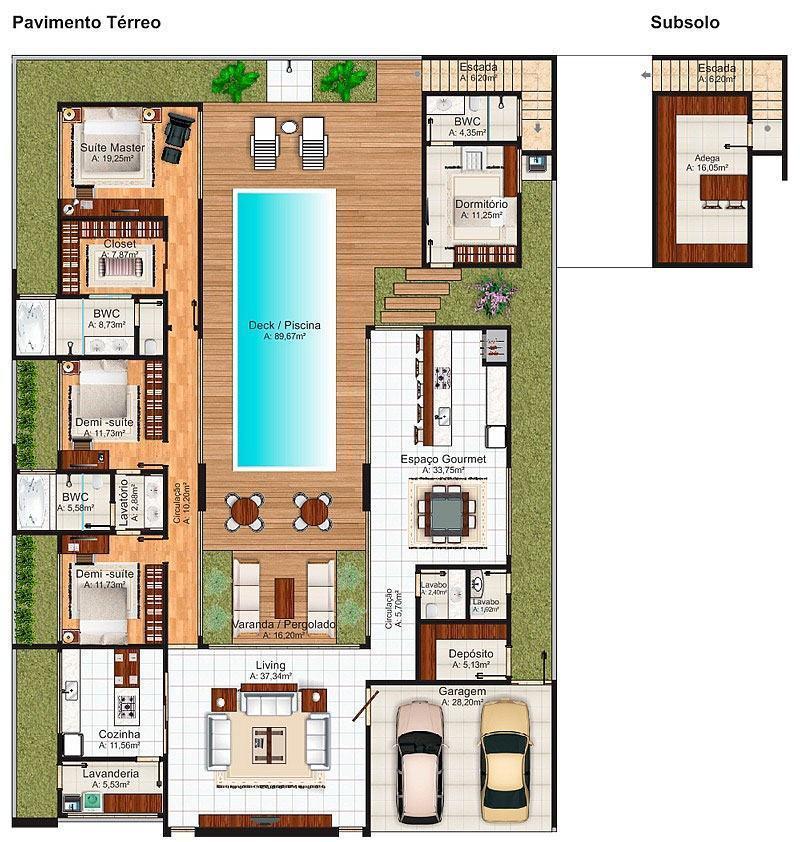 Casas com piscinas 60 modelos projetos e fotos - Plantas para casa ...