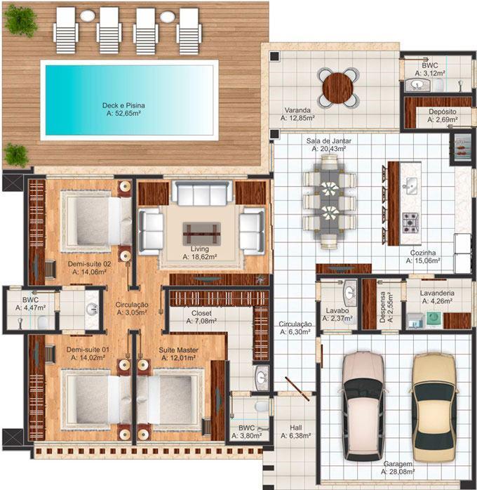 Casas com piscinas 60 modelos projetos e fotos for Plantas para casa
