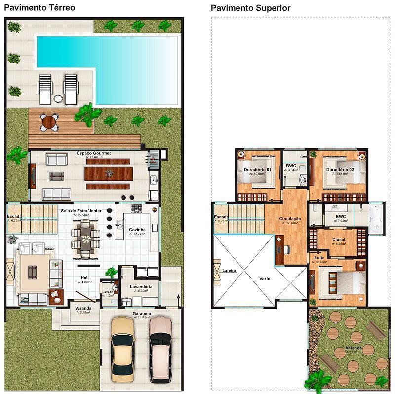 Casas com piscinas 60 modelos projetos e fotos for Planos de casas 200m2