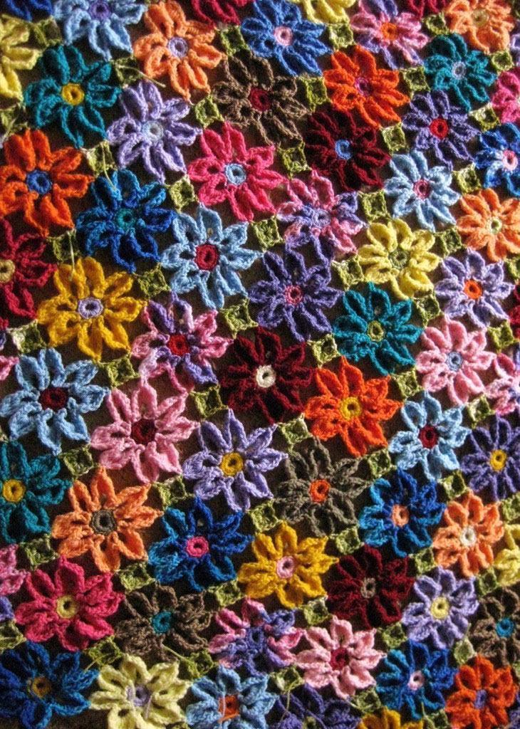 Flores de crochê super coloridas