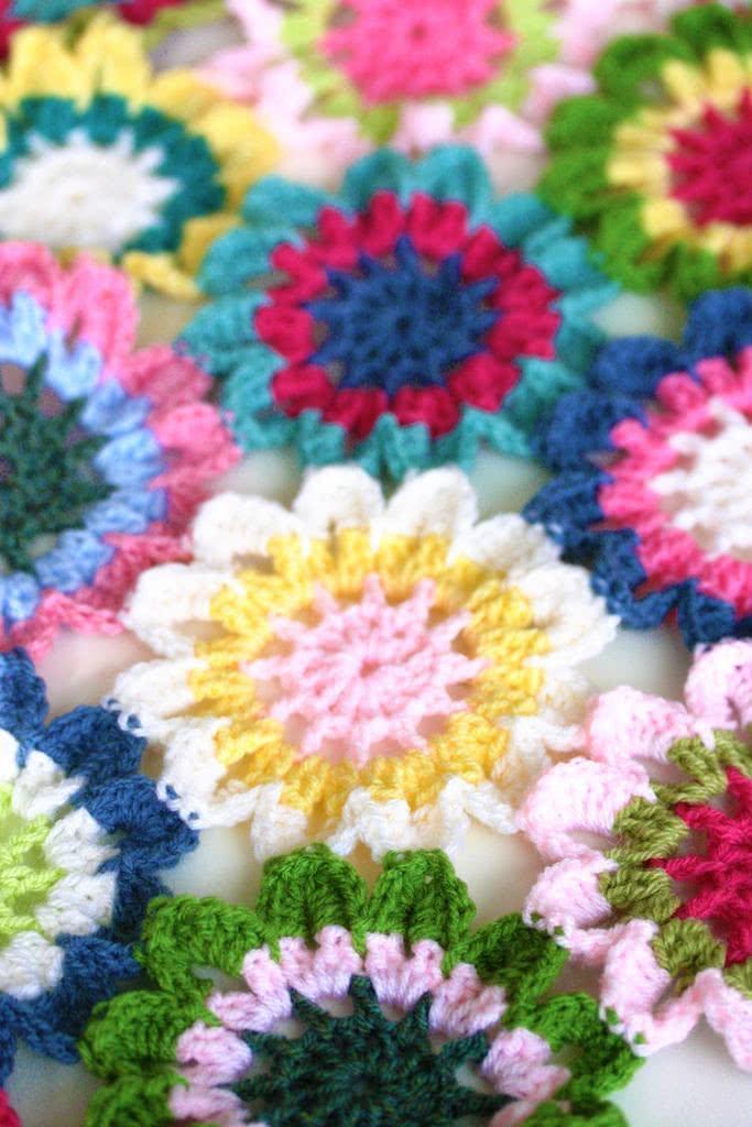 Flores unidas para criar manta