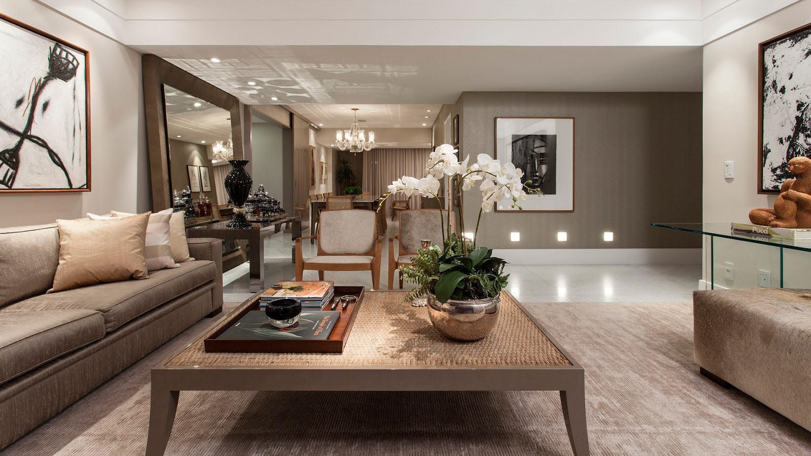 Cor bege decora o de ambientes com 60 projetos incr veis for Decoracao de sala de estar 2018