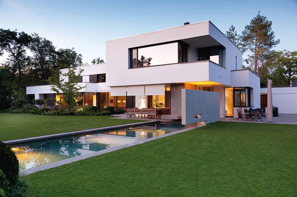 Casa retangular com telhado embutido