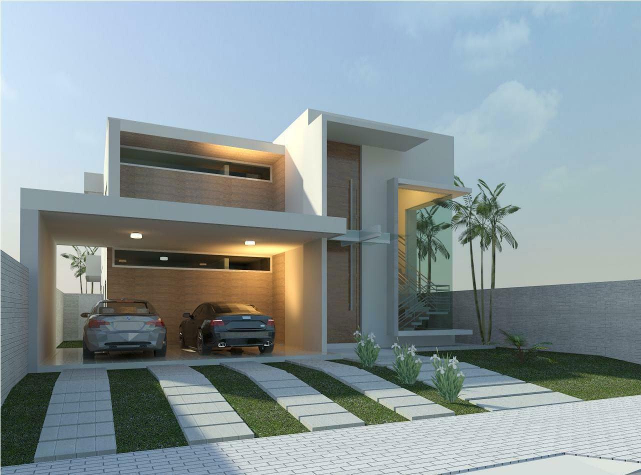 Casa com telhado embutido e pé-direito alto