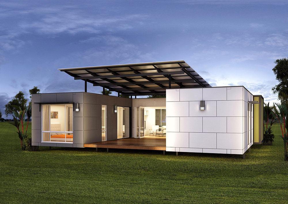 Casa com telhado embutido e cobertura metálica