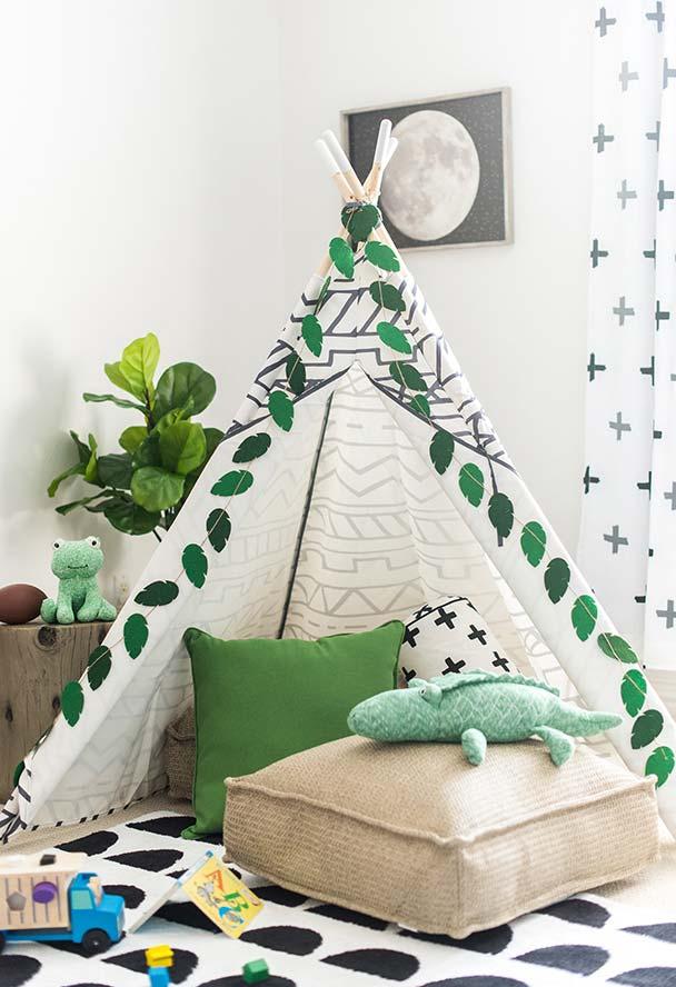 Barraca para acampamento inspirando a criatividade na hora de brincar
