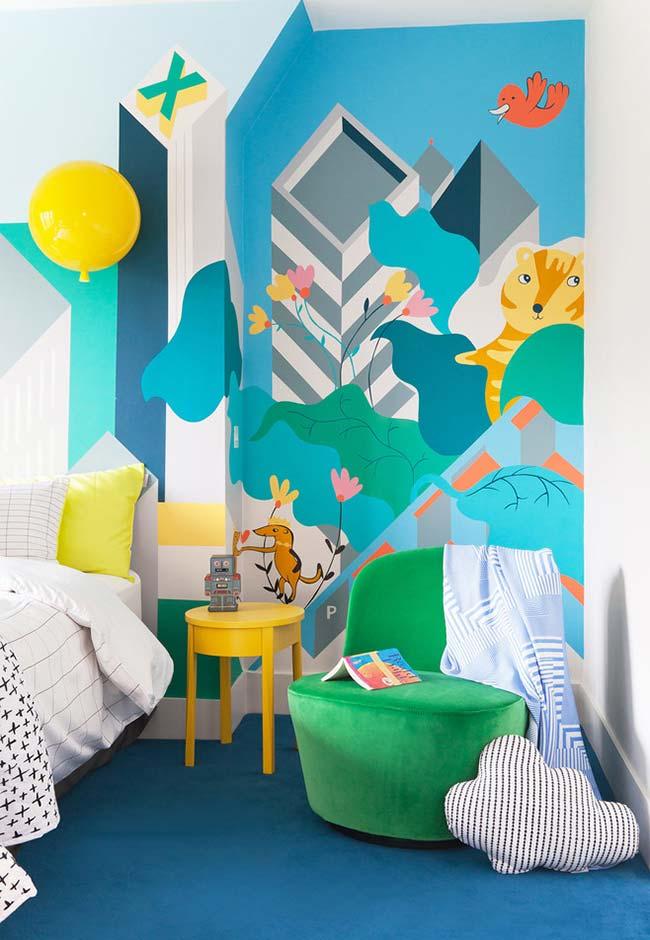 Ilustração colorida para quarto de menino