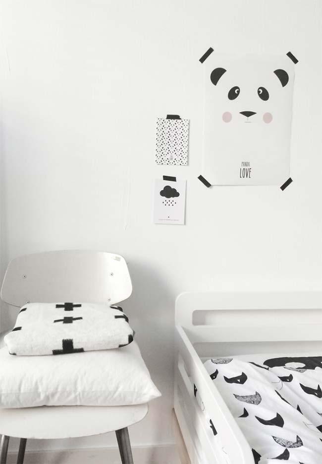 Quarto de menino clean com tema urso panda