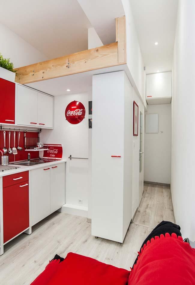 Decoração de cozinha com o tema da Coca-Cola