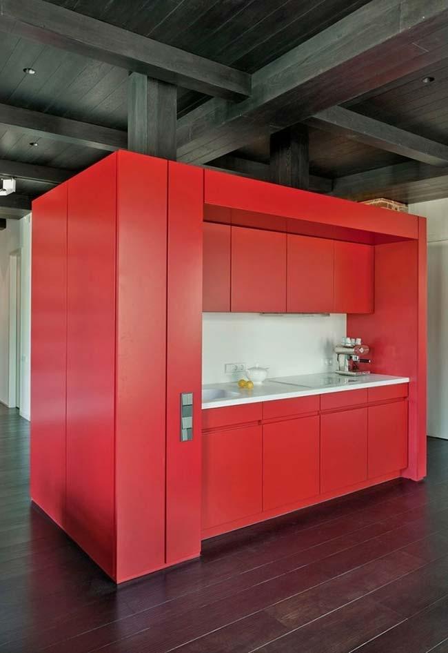 Armário de cozinha planejada na cor vermelha