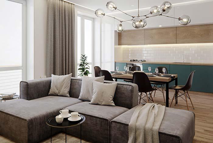 Tons de Off White para a manta e almofadas são aposta certa para quem deseja um ambiente elegante e clean