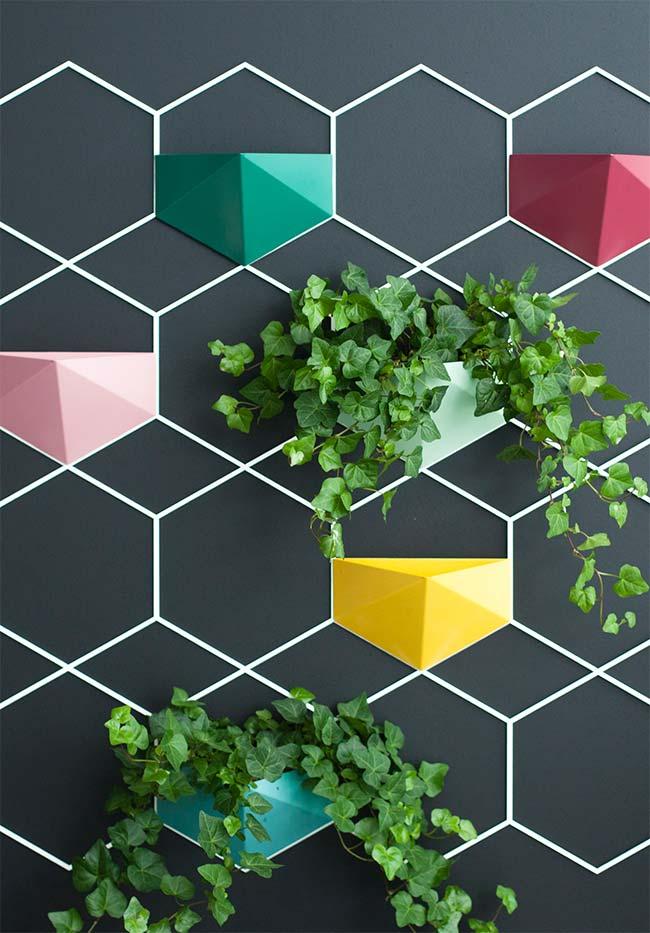 Jardim vertical: painel na parede