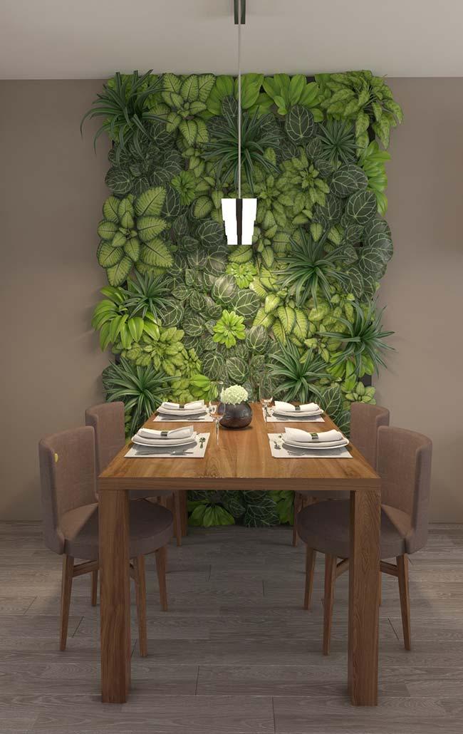 Quadro vivo e bem verde de clorofitos para a sala de jantar