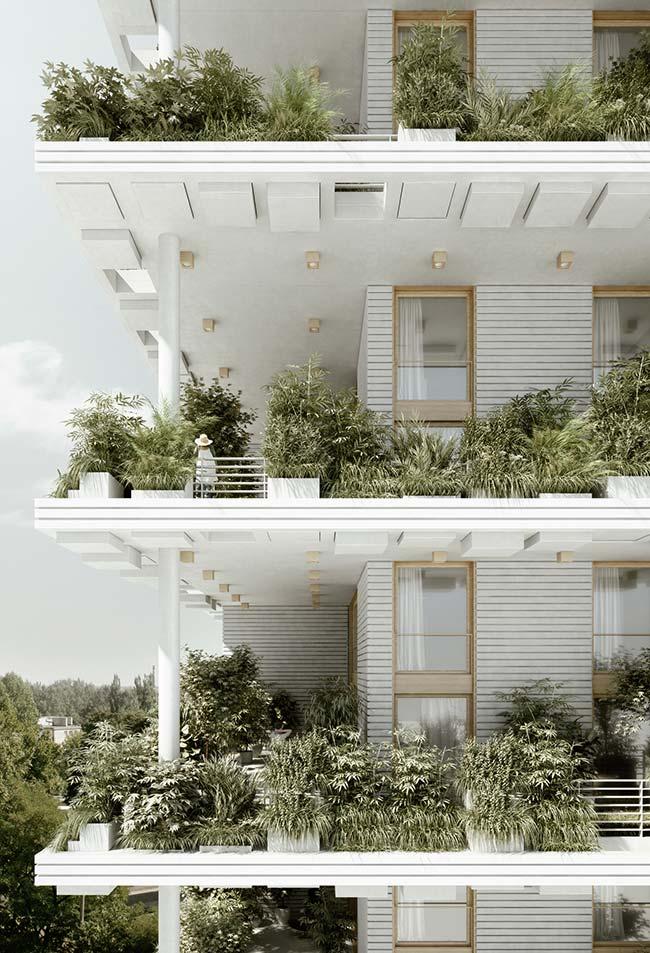 Em cada andar desse prédio, uma amostra da beleza e da importância dos jardins verticais