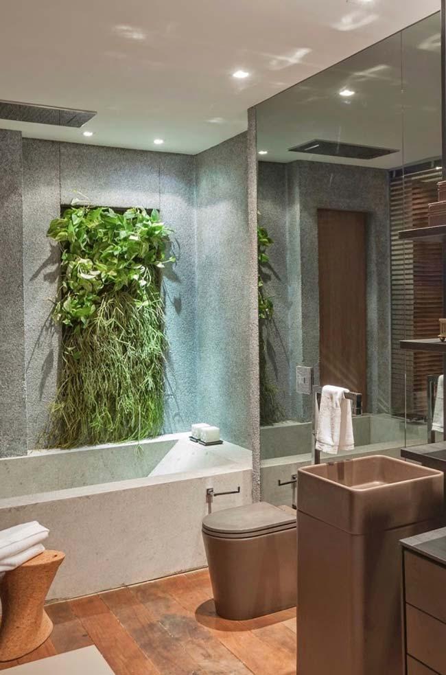 Imagina tomar um banho e contemplar, ao mesmo tempo, uma área verde? Super relaxante