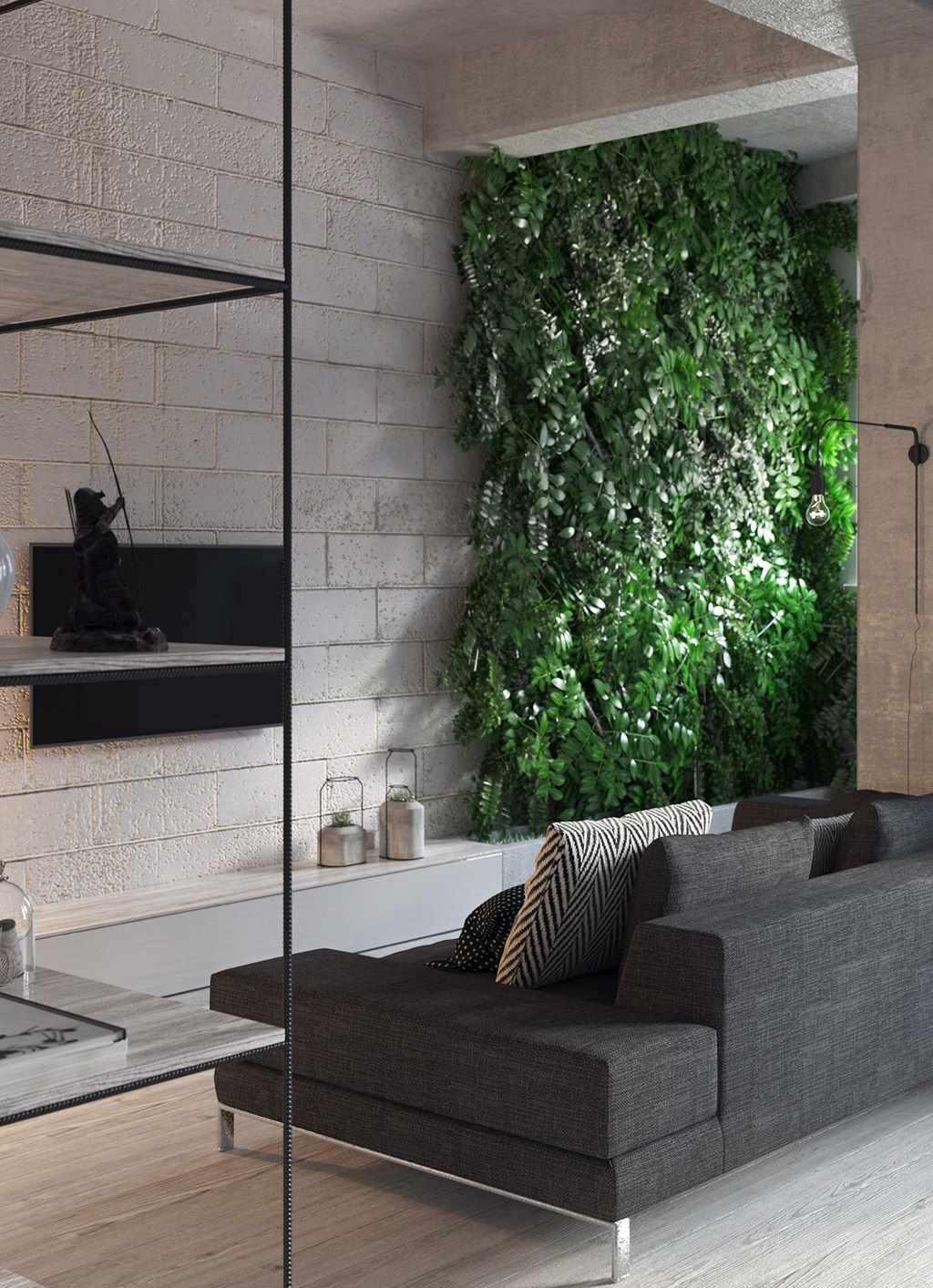 Parede de blocos de concreto com jardim vertical