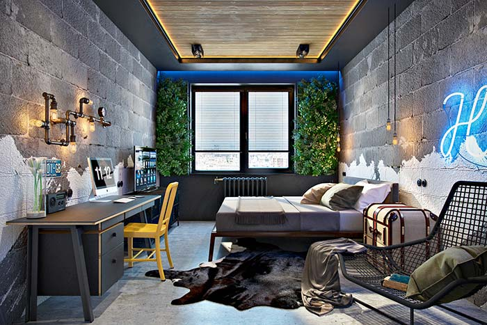 Colunas verdes quebram a monotonia cinza do quarto de estilo industrial