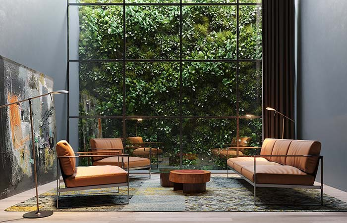 A parede de vidro revela um jardim vertical de arrancar suspiros