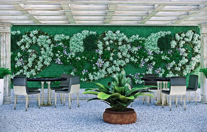 Use os diferentes tons de verde para criar desenhos no jardim vertical