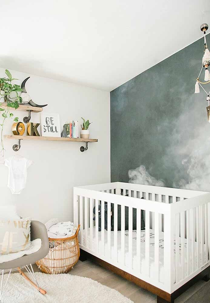 Traga o verde com plantinhas compatíveis com um quarto de bebê, neste caso, no estilo minimalista