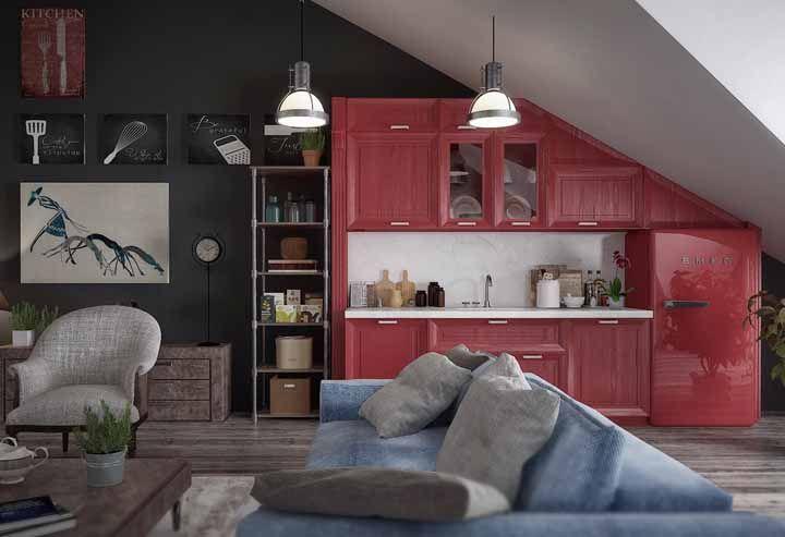 Quer ousar na decoração vintage? Que tal uma cozinha vermelha então?
