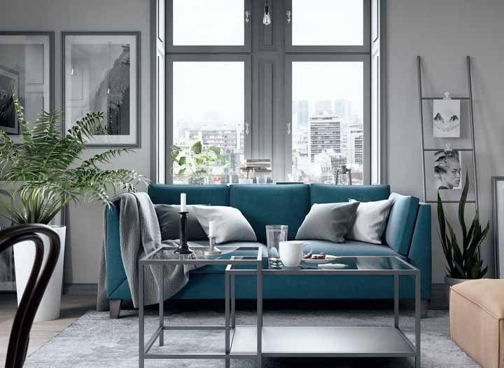 Os mais sóbrios podem apostar em uma decoração vintage cinza com toque de azul