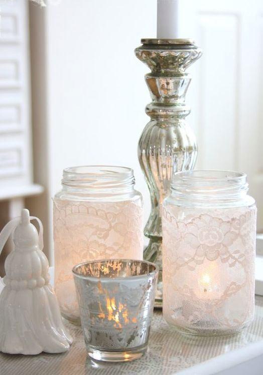Modelos de porta velas com frasco e renda