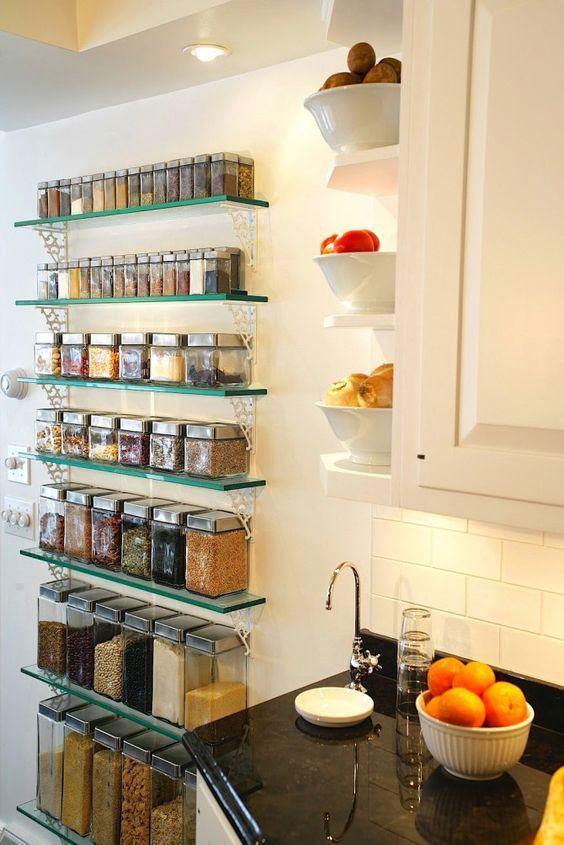 Prateleiras de vidro 60 modelos e ideias para decorar for Porta utensilios cocina