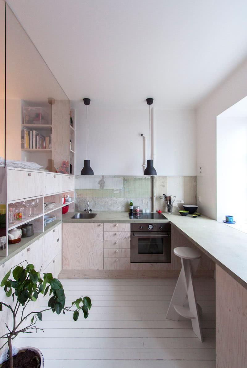 Cozinha clean para apartamento estúdio