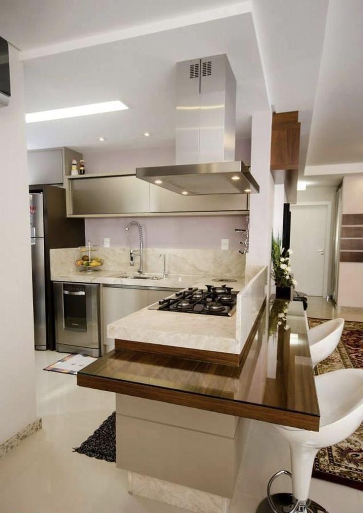 Cozinha em L com estilo clean