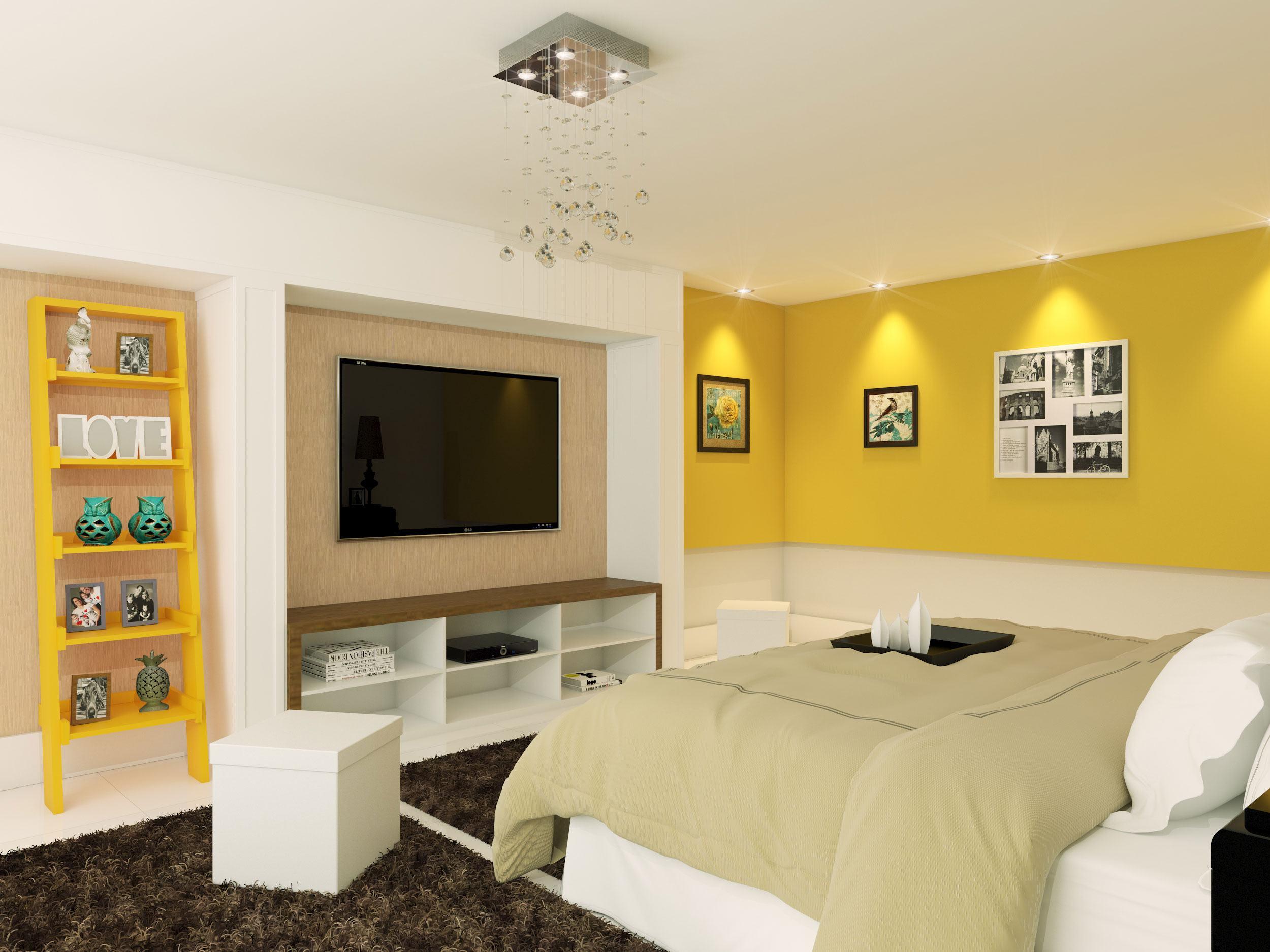 Uma maneira moderna para iluminar o quarto é utilizar o lustre de fios com os cristais aparentes.