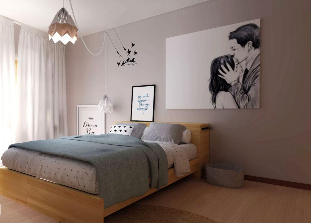 O formato desse lustre ganha um estilo moderno e descolado para um quarto de um casal jovem.