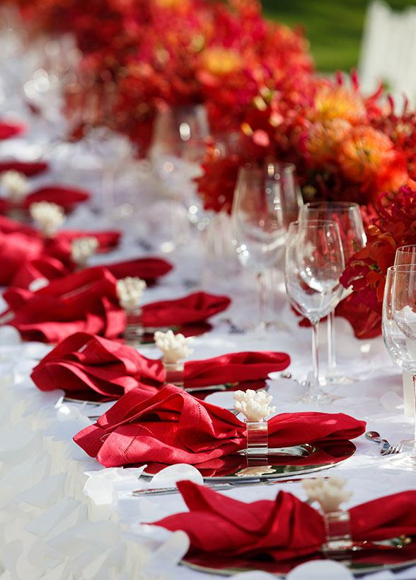 A cor do amor e da paixão reina absoluta em qualquer evento!