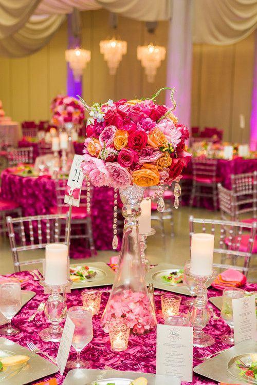 Decoração de casamento rosa floras rosas