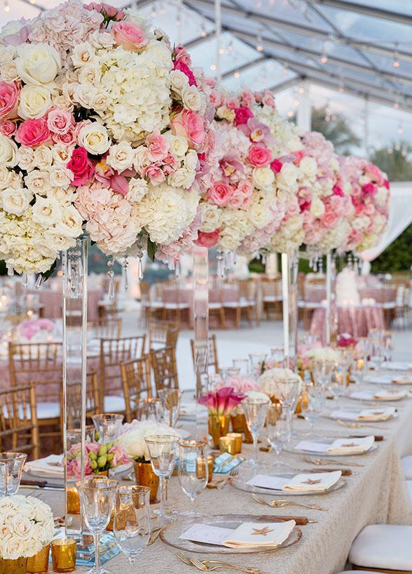 Decoração de casamento rosa jantar