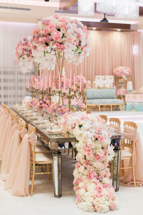 Decora o de casamento rosa 84 fotos inspiradoras for Mesas de centro black friday